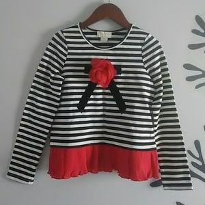 Kate Spade Girls top striped Black Red White